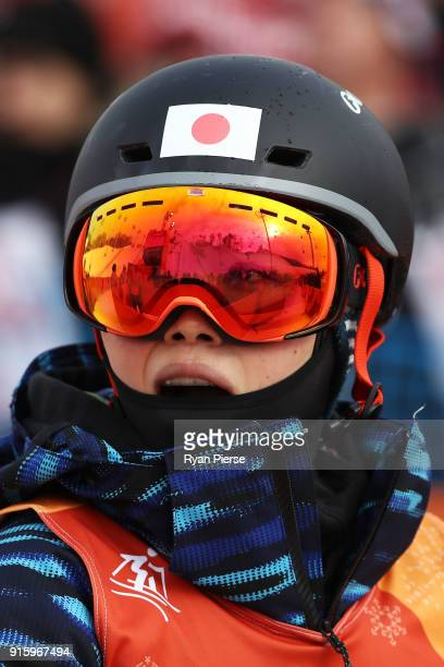 Arisa Murata of Japan looks on during the Ladies' Freestyle Skiing Moguls qualification ahead of the PyeongChang 2018 Winter Olympic Games at Phoenix...