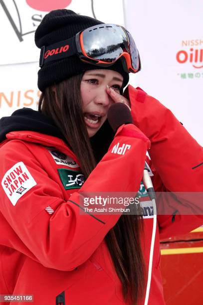 Arisa Murata shows her emotion as she is retiring on day two of the 38th All Japan Ski Championships Freestyle at Bankei Ski Resort on March 18 2018...