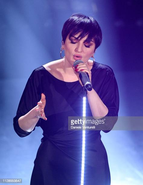 Arisa on stage during the closing night of the 69th Sanremo Music Festival at Teatro Ariston on February 09 2019 in Sanremo Italy