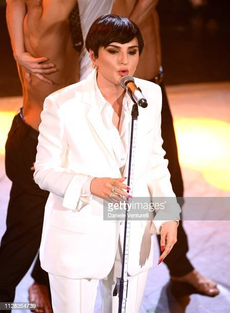 Arisa on stage during the fourth night of the 69th Sanremo Music Festival at Teatro Ariston on February 08 2019 in Sanremo Italy