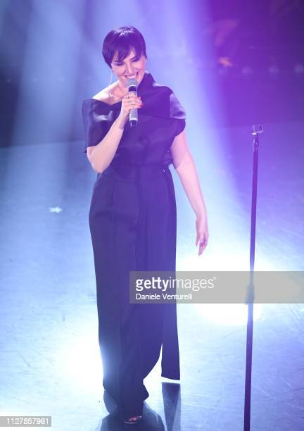 Arisa on stage during the second night of the 69th Sanremo Music Festival at Teatro Ariston on February 06 2019 in Sanremo Italy