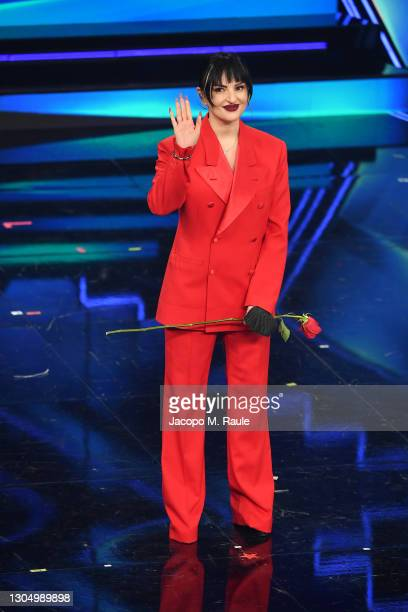 Arisa performs at the 71th Sanremo Music Festival 2021 at Teatro Ariston on March 02, 2021 in Sanremo, Italy.