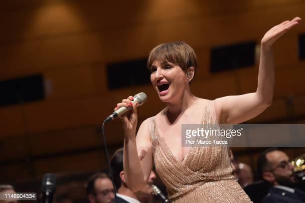 Arisa performs on stage during the Fanfare in Concerto Charity Event at Teatro dal Verme on May 29 2019 in Milan Italy The collection will be...