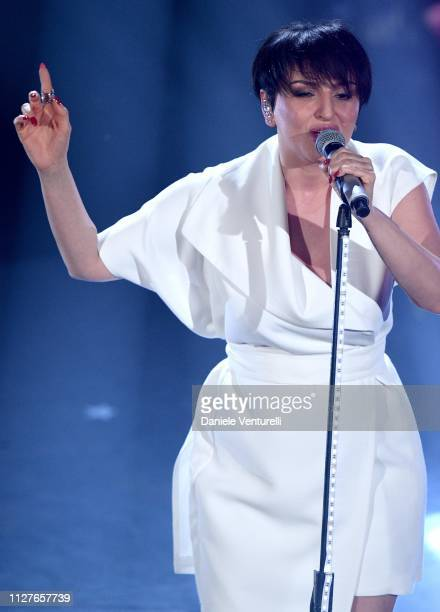 Arisa performs on stage during the first night of the 69th Sanremo Music Festival at Teatro Ariston on February 05 2019 in Sanremo Italy
