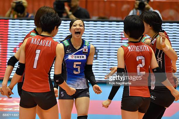 Arisa Sato of Japan celebrate a point during the Women's World Olympic Qualification game between Japan and Italy at Tokyo Metropolitan Gymnasium on...