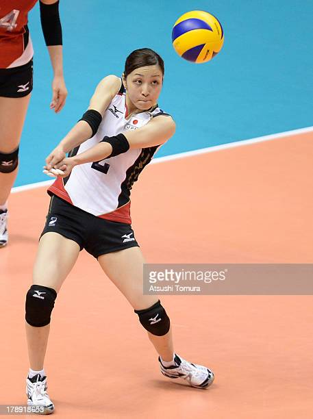 Arisa Sato of Japan in action during day four of the FIVB World Grand Prix Sapporo 2013 match between Japan and China at Hokkaido Prefectural Sports...