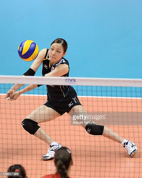 Arisa Sato of Japan in action during day three of the FIVB World Grand Prix Sapporo 2013 match between Serbia and Japan at Hokkaido Prefectural...