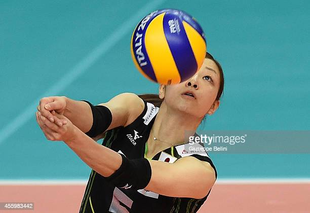 Arisa Sato of Japan in action the FIVB Women's World Championship pool D match between Japan and Azerbaijan on September 23 2014 in BariItaly