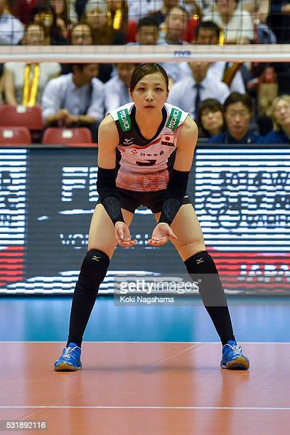 Arisa Sato of Japan looks on during the Women's World Olympic Qualification game between South Korea and Japan at Tokyo Metropolitan Gymnasium on May...