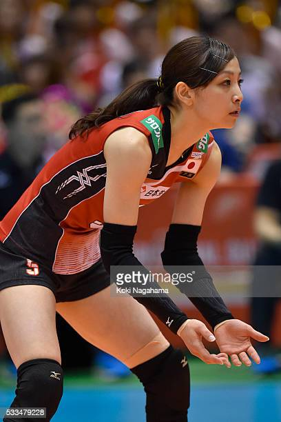 Arisa Sato of Japan looks on during the Women's World Olympic Qualification game between Netherlands and Japan at Tokyo Metropolitan Gymnasium on May...