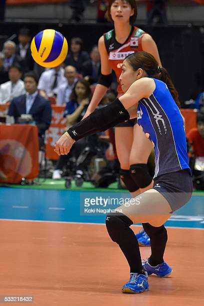 Arisa Sato of Japan receives the ball during the Women's World Olympic Qualification game between Japan and Italy at Tokyo Metropolitan Gymnasium on...
