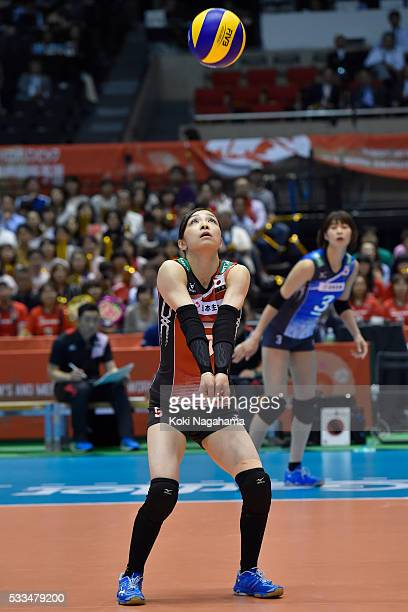 Arisa Sato of Japan receives the ball during the Women's World Olympic Qualification game between Netherlands and Japan at Tokyo Metropolitan...