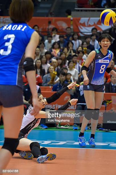 Arisa Sato of Japan recieves the ball during the Women's World Olympic Qualification game between South Korea and Japan at Tokyo Metropolitan...