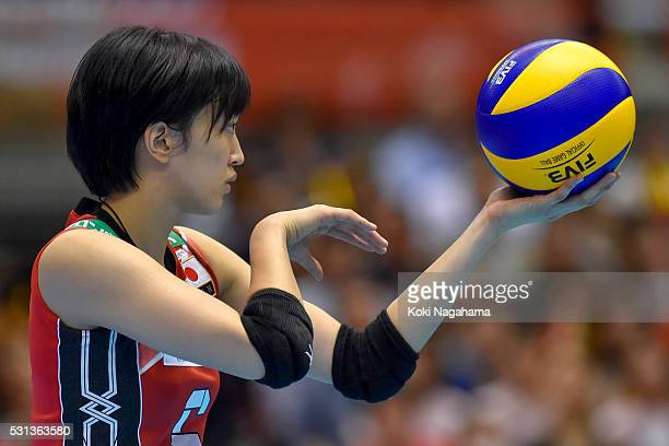Arisa Sato of Japan serves the ball during the Women's World Olympic Qualification game between Japan and Peru at Tokyo Metropolitan Gymnasium on May...