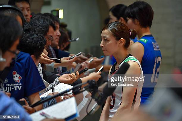 Arisa Sato of Japan talks to the media in the mixed zone after losing the Women's World Olympic Qualification game between South Korea and Japan at...