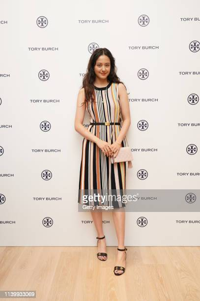 Arisa Urahama attends the Tory Burch Ginza Boutique Opening on April 02 2019 in Tokyo Japan