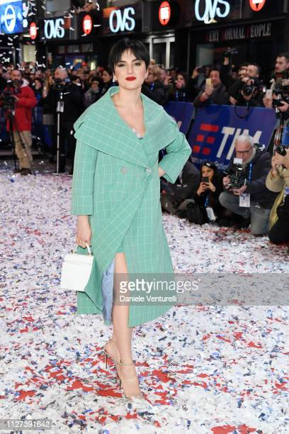 Arisa walks the red carpet of the 69 Sanremo Music Festival Preview at Teatro Ariston on February 04 2019 in Sanremo Italy