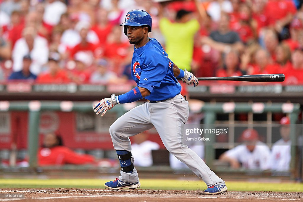 Arismendy Alcantara #7 of the Chicago Cubs bats in the third inning against the Cincinnati Reds at Great American Ball Park on July 9, 2014 in Cincinnati, Ohio. Alacantara went 0-4 in his major league debut.