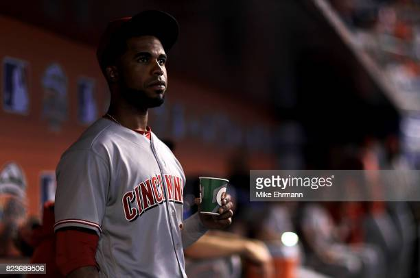 Arismendy Alcantara of the Cincinnati Reds looks on during a game against the Miami Marlins at Marlins Park on July 27 2017 in Miami Florida