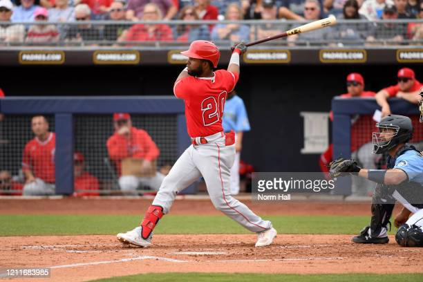 Arismendy Alcantara of the Los Angeles Angels follows through on a swing during a spring training game against the Seattle Mariners at Peoria Stadium...