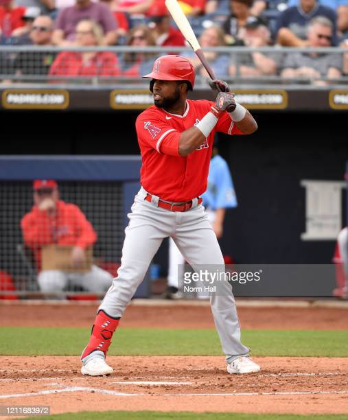 Arismendy Alcantara of the Los Angeles Angels gets ready in the batters box during a spring training game against the Seattle Mariners at Peoria...