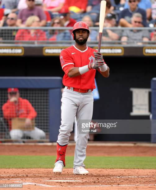 Arismendy Alcantara of the Los Angeles Angels gets ready to step into the batters box during a spring training game against the Seattle Mariners at...