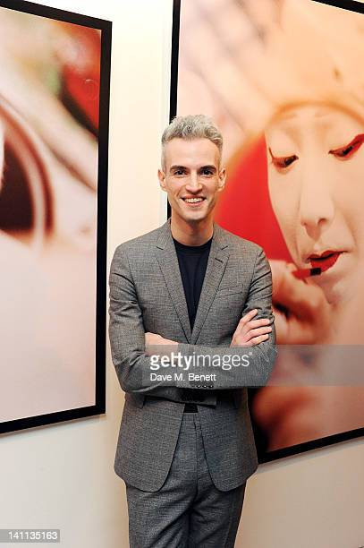 Arist Frederic Aranda attends a private view of 'Kabuki One Year On' a photographic exhibition he created to benefit the Japan Society Tohou...
