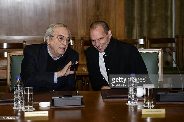 Aristeidis Baltas and Yanis Varoufakis during a meeting of the Governmental Council of Greece on March 29 2015 in Athens at the Hellenic Parliament...
