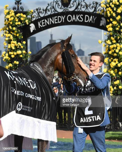 Aristia after winning in Race 8 Kennedy Oaks during Oaks Day at Flemington Racecourse on November 08 2018 in Melbourne Australia