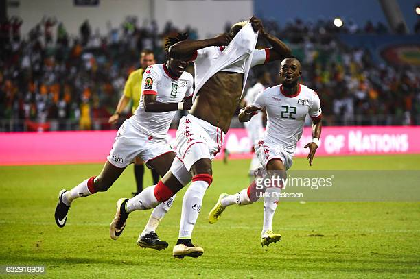 Aristide Bance Bertrand Isidore Traore and Ibrahim Blati Toure of Burkina Faso celebrating the first goal during the African Nations Cup Quarter...