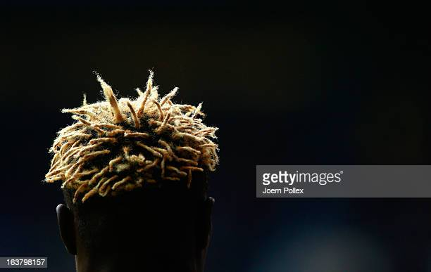 Aristide Bance of Augsburg is seen during the Bundesliga match between Hamburger SV and FC Augsburg at Imtech Arena on March 16 2013 in Hamburg...