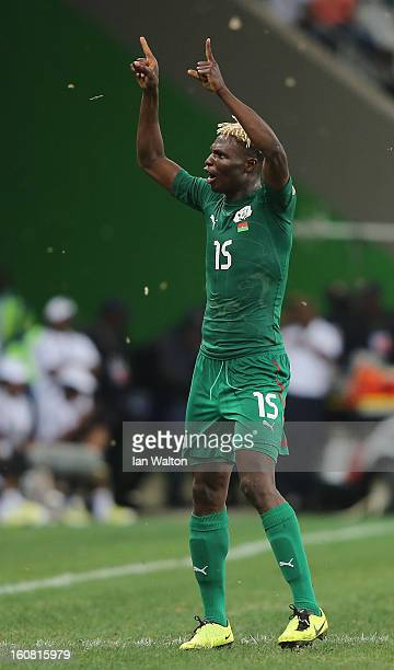 Aristide Bance of Burkina Faso celebrates after scoring their first goal during the 2013 Africa Cup of Nations SemiFinal match between Burkina Faso...