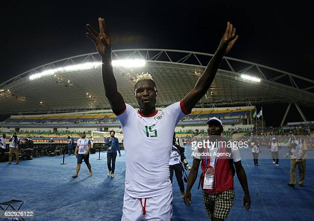 Aristide Bance of Burkina Faso celebrates after the 2017 Africa Cup of Nations quarterfinal football match between Burkina Faso and Tunisia at the...