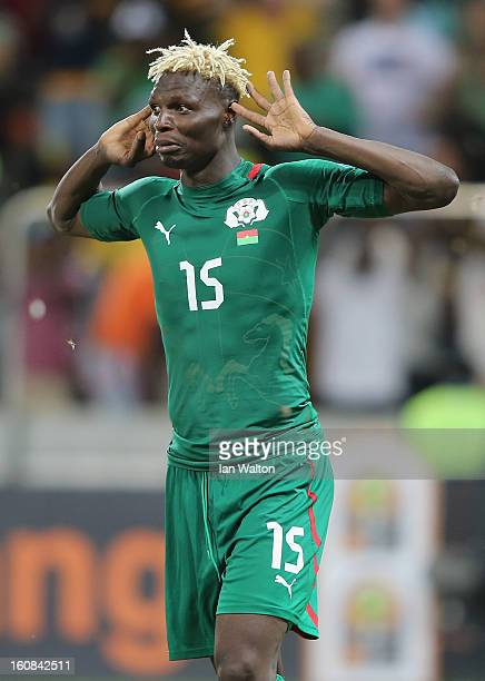 Aristide Bance of Burkina Faso celebrates scoring a penalty during the 2013 Africa Cup of Nations SemiFinal match between Burkina Faso and Ghana at...