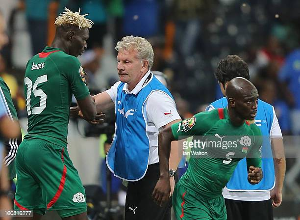 Aristide Bance of Burkina Faso celebrates with manager Paul Put after scoring their first goal during the 2013 Africa Cup of Nations SemiFinal match...