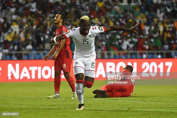 Aristide Bance of Burkina Faso celebrating the first goal during the African Nations Cup Quarter Final match between Burkina Faso and Tunisia on...