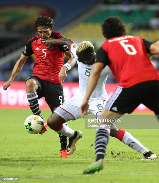 Aristide Bance of Burkina Faso in action against Ibrahim Salah and Ahmed Hegazy of Egypt during the 2017 Africa Cup of Nations semifinal football...