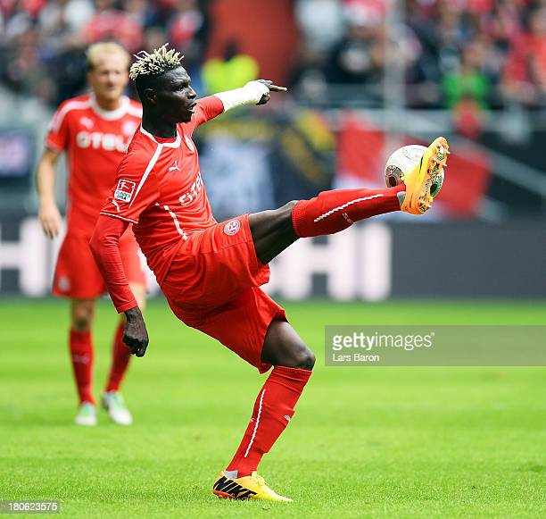 Aristide Bance of Duesseldorf runs with the ball during the Second Bundesliga match between Fortuna Duesseldorf and Dynamo Dresden at EspritArena on...