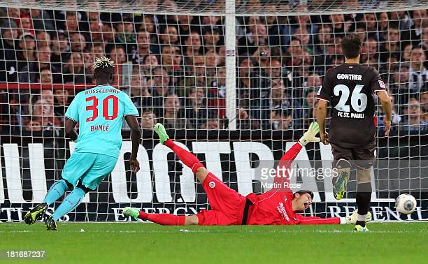 Aristide Bance of Duesseldorf scores his team's opening goal during the Second Bundesliga match between FC St Pauli and Fortuna Duesseldorf at...