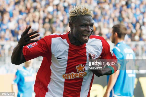 Aristide Bance of Mainz celebrates his team's second goal during the Bundesliga match between FSV Mainz 05 and 1899 Hoffenheim at the Bruchweg...
