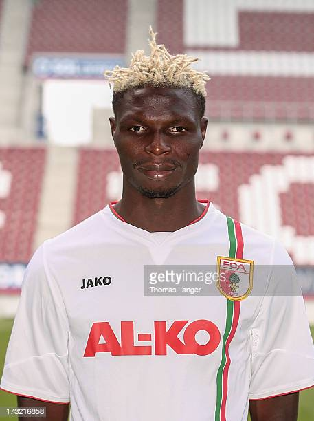 Aristide Bance poses during the FC Augsburg team presentation at SGL Arena on July 8 2013 in Augsburg Germany