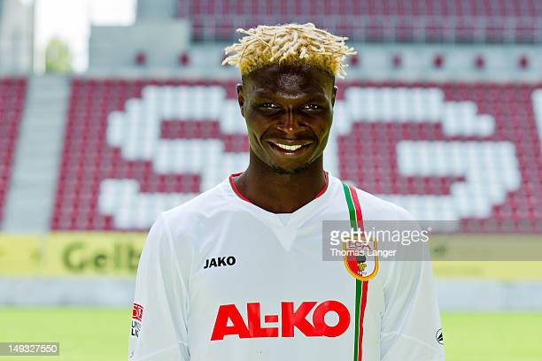 Aristide Bance poses during the FC Augsburg team presentation at the SGL Arena on July 26 2012 in Augsburg Germany