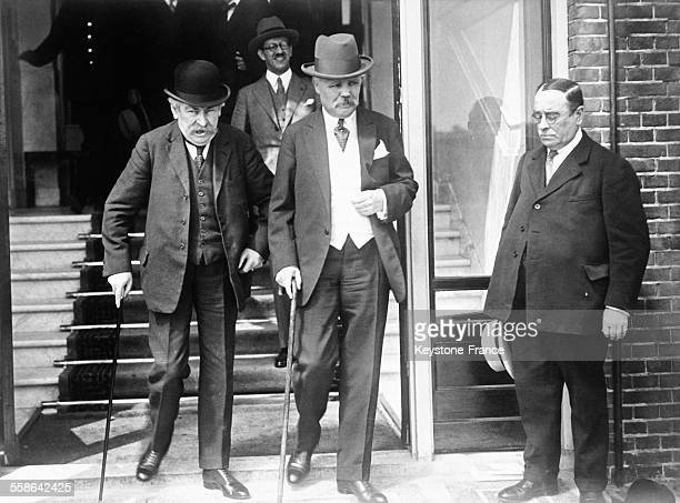 Aristide Briand and Louis Loucheur French delegates at the Hague Conference on August 13 1929 in The Hague Netherlands