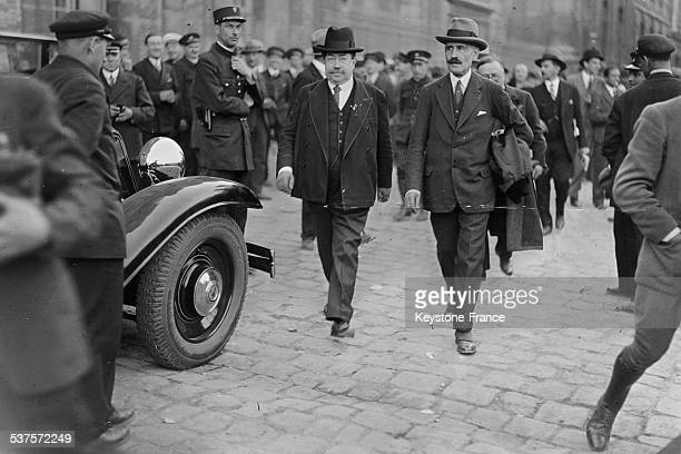 Aristide Briand and Pierre Laval arrive at the castle of Versailles for the presidential election on May 13 1931 in Versailles France