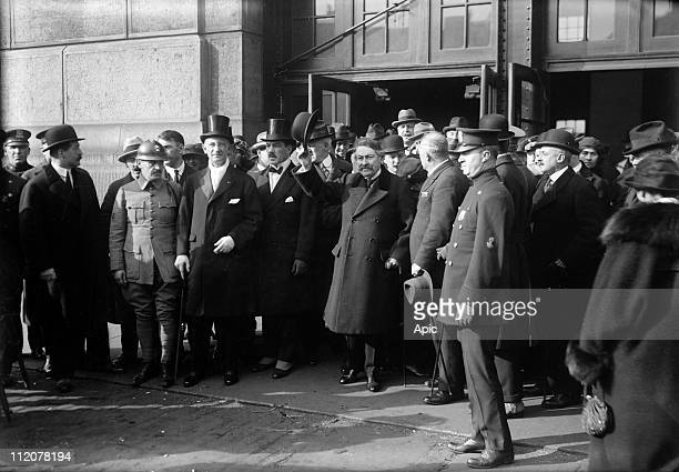 Aristide Briand french politician here arriving in New York for conference about disarmement november 1921