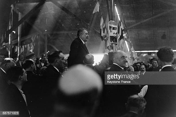 Aristide Briand's speech French Minister of Foreign Affairs about the peace in Europe during a veterans' banquet on June 15 1931 in Gourdon France