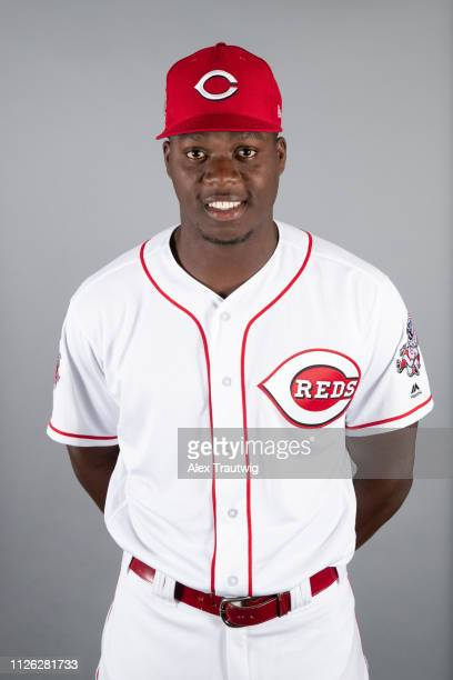 Aristides Aquino of the Cincinnati Reds poses during Photo Day on Tuesday February 19 2019 at Goodyear Ballpark in Goodyear Arizona