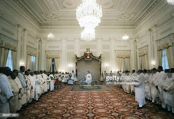 Aristocracy come to pay homage to Haile Selassie I Emperor of Ethiopia in his palace during the New Year festivities in Ethiopia circa 1965