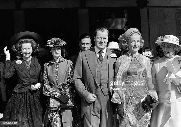20th April 1978 Earl Spencer standing beside his former wife Frances Shand Kydd at the wedding of their daughter Lady Jane Spencer to Robert Fellowes...
