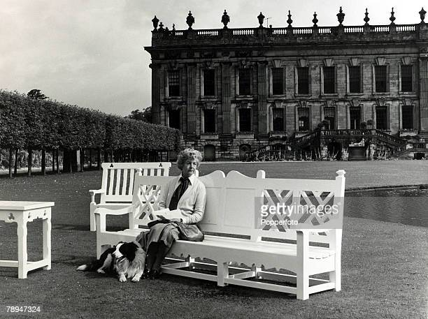 Aristocracy, Personalities, pic: circa 1970, The Duchess of Devonshire, pictured at her Chatsworth House, Derbyshire home, where she is sitting on...